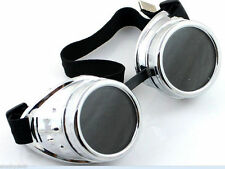 Steampunk silver Goggles rock Moto/bike Punk Cyber Gothic Rave Vintage Cosplay