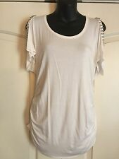 Boston Proper White Cold Shoulder Top With Rhinestones Medium New Without Tags