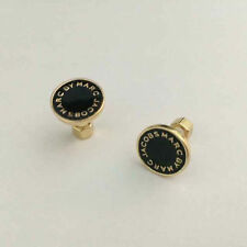 HOT SALE MARC BY MARC JACOBS CLASSIC GOLD LETTERS BLACK DISC EARRINGS #E0011