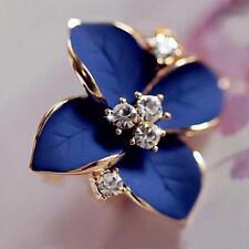 blue flower ladies gold plated rhinestone earrings piercing Brinco women