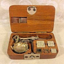 Antique Small Finger Scale in Wood Case Maker? 9 Sheet Weights