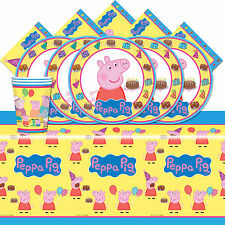 Peppa Pig Cartoon Children's Birthday Complete Party Tableware Kit Pack For 16