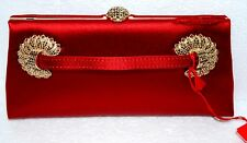 VALENTINO RED SATIN Clutch Crystal accents & Clasp  $ 2495.00