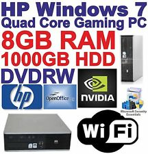 Windows 7 HP Core 2 Quad Gaming PC Computer - 8GB RAM - 1000GB HDD - HDMI Wi-Fi