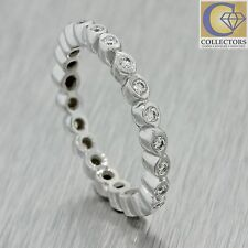 Vintage Estate 18k Solid White Gold .22ctw Diamond Stackable 2mm Band Ring