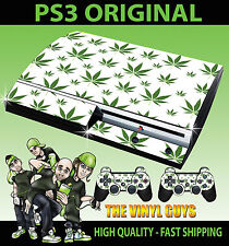 PLAYSTATION PS3 ORIGINAL  CANNABIS LEAF WHITE WEED MARY JANE SKIN & 2 PAD SKINS