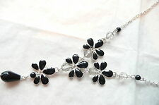 ACCESSORIZE JET BLACK & SILVER NECKLACE WITH PALE GREY BEADS - BRAND NEW