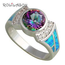 OR677A#8 Graceful Rings Mystic Topaz Blue Fire Opal Silver fashion jewelry
