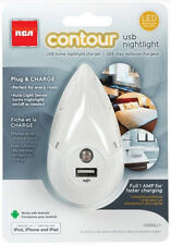 RCA LED Contour Auto Night Light White for Charging USB Devices Free US Shipping