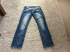 REPLAY BLUE STRAIGHT LEG LOW RISE BUTTON FLY JEANS SZE 12 LEG 30