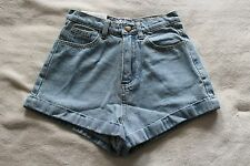 NWT American Apparel high waisted jean shorts, pale denim blue, W25