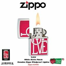 Zippo Love, Red Typographic, White Matte, Windproof Pocket Lighter #29085