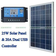 25W Solar Panel System Kits: Solar Module & 20A Controller Yacht Free Shipping!