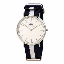 Daniel Wellington 0204DW Mens White Dial Blue & White Strap Watch