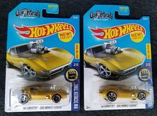Hot Wheels 2017 Gas Monkey Midas '68 Corvette Lot of 2 Unpainted Rim Error MOC