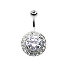 Grand Allure Prong Gem Belly Button Ring Clear 14G