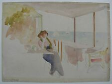 BARGAIN FRENCH WC SAUZON BELLE ILE FRANCE LADY SEATED BY THE SEA C 1930