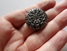 """ART DECO  BLACK WITH SILVER OVERLAY & SELF SHANK FLOWER BUTTON 1 1/16"""" 27MM Z13"""