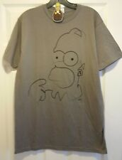 New The Simpsons Homer Line Drawing  Adult Large T-shirt & Homer Keychain