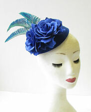 Blue Green Peacock Feather Rose Flower Pillbox Hat Races Fascinator Vintage 1994