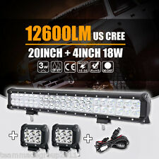 "20""INCH 126W + 4"" 18W SPOT FLOOD COMBO CREE LED WORK LIGHT BAR OFFROAD BOAT LAMP"