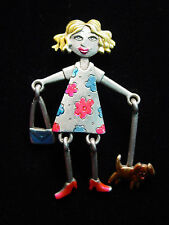 """JJ"" Jonette Jewelry Silver Pewter Girl Walking DOG w/ Movable Parts Pin"