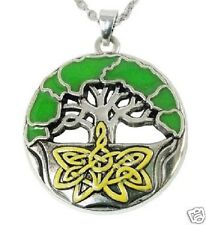 """Enamel Celtic Tree of Life Pendant With 18"""" Silver Plated Necklace"""