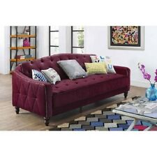 Vintage Tufted Sofa Sleeper Bed Couch Furniture Living Room Lounger Burgundy Red