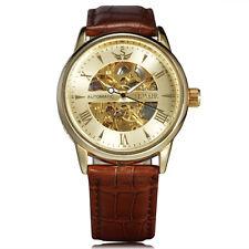 correa de cuero reloj mecánico de los hombres de lujo de oro esqueleto relojes