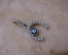 Evil Eye Bead Horseshoe Pendant Turkish Nazar Greek 925 Sterling Silver