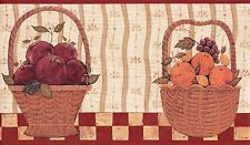 Wallpaper Border Country Fruit Baskets With Red Trim