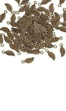 Leaf Charms, Little Antiqued Double Sided Detailed Drop Bead Leaves PKG 100
