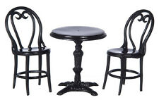 Dollhouse/Furniture/Kitchen/Dining Room/3 Pc Cafe Table and Chairs Brown A2894BR