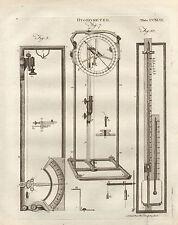 1797 Georgian print ~ hygromètre échelles de différents équipements poids