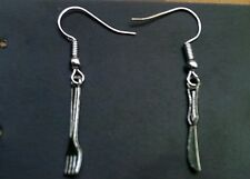 Cute Silver Knife and Fork Cutlery Earrings kitsch retro vintage kawaii punk