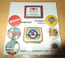 The Champions / the Man from Uncle TV Series 25mm 6 Button Badge Set,