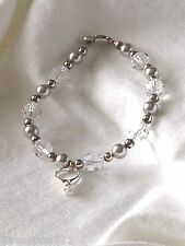 Bracelets: Wedding Ring Sterling Charm on Silver/Clear Hand-Crafted Bracelet