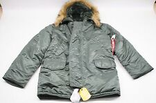 NWT Alpha Industries Men's N-3B Parka Extreme Cold Weather Jacket - Green