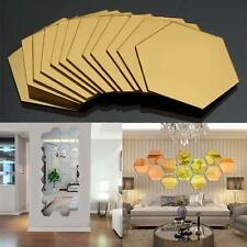 12Pcs Adhesive Mirror Hexagon Vinyl Removable Wall Sticker Decal Pretty Decor