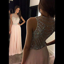 Pink Chiffon Crystals Long Prom Evening Dresses Pageant Gowns Formal Dresses