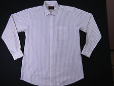 BRIONI SUITS WHITE BROWN STRIPE SHIRT L/SLEEVE SIZE 17-171/2 EX-COND F-188