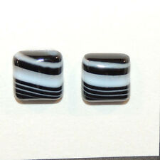 Black and White Agate 12x12mm with 5mm dome Cabochons Set of 2 (12137)