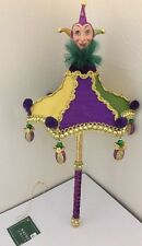 "Katherine's Collection Mardi Gras 16"" Hanging Jester Umbrella Parasol Purple"