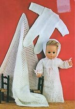 """KNITTING PATTERN BABY DOLLS CLOTHES 14"""" TINY TEARS SLEEPSUIT"""