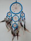 12 x 40 cm Türkis Leder Dreamcatcher Traumfänger Indianer Federn Perlen Träume