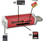 Mini Red USB 2.0 Micro SD TF M2 MS T-Flash Memory Card Reader Adapter High Speed