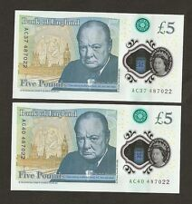 2 x 2016 England £5 Pounds First Polymer Last 6 Digit Number Matching Set 487022