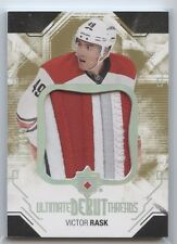 VICTOR RASK ROOKIE 3 COLOR PATCH 2014-15 ULTIMATE COLLECTION DEBUT THREADS /100