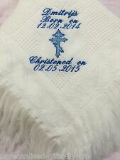 Personalised Christening Shawl, WITH ORTHODOX CROSS, Embroidered in any colour
