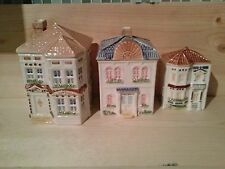 Vintage 1980's Avon Townhouse Canisters set of 3 Handpainted in Brazil